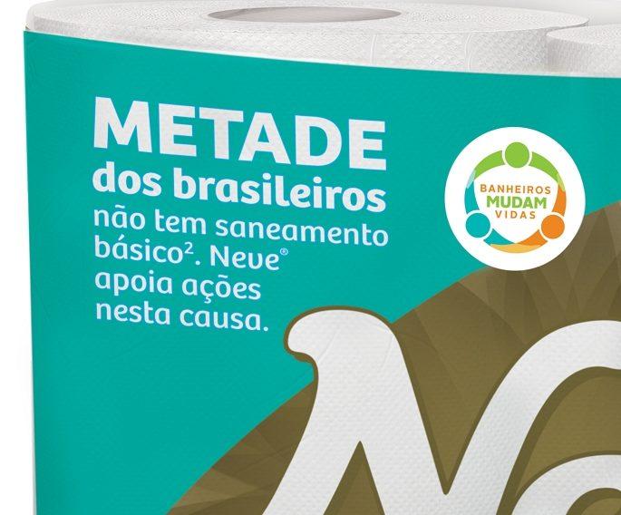 Embalagens de papel higiênico Neve mostram iniciativas voltadas ao saneamento básico