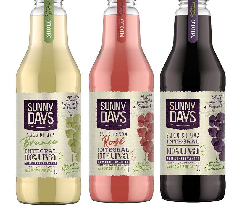Em nova embalagem, suco de uva Sunny Days ganha versões branco e rosé