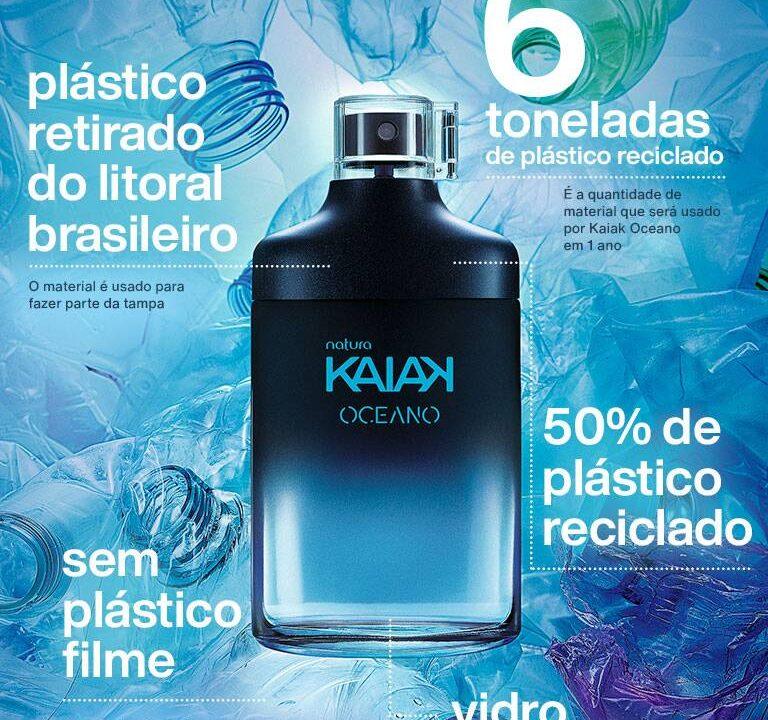 Embalagem de Kaiak Oceano, da Natura, utiliza plástico reciclado retirado do mar