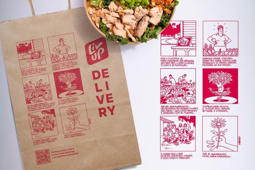 Laerte ilustra sacolas de delivery da Liv Up