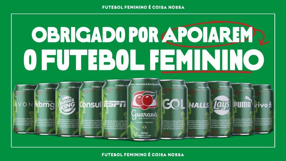 Em apoio ao futebol feminino, marcas terão logos impressos nas latas Guaraná Antarctica