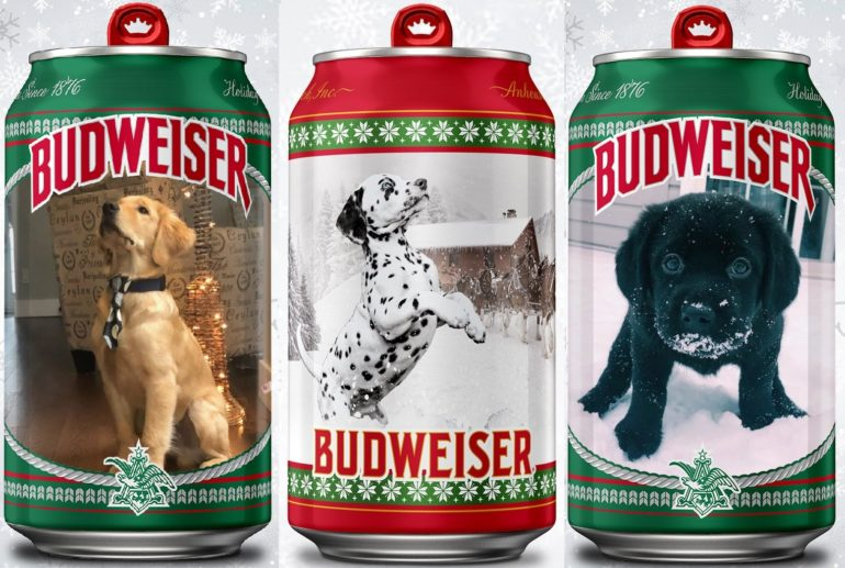 No Natal, Budweiser personaliza latas com pets de consumidores