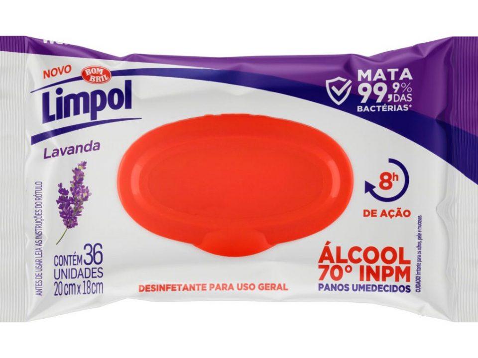Limpol lança pano umedecido com álcool 70%