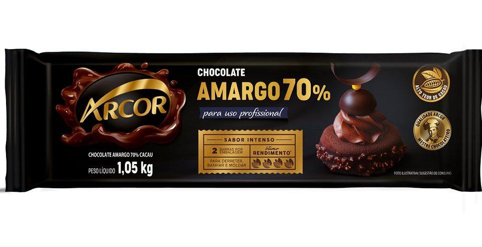 Arcor amplia linha Profissional com barra de Chocolate Amargo 70% Cacau