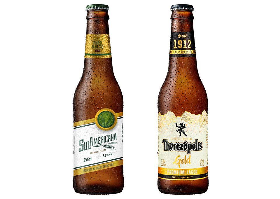 Cervejas Therezópolis e Sul Americana ganham novos rótulos de garrafas de 355ml