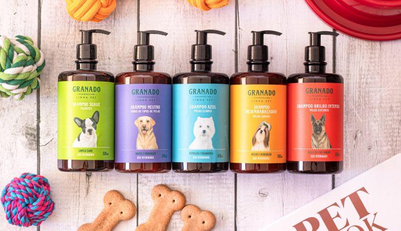 Embalagens da linha de xampus para cães da Granado são redesenhadas