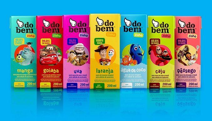 Personagens da Pixar estampam caixinhas dos sucos do bem