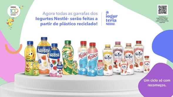 Iogurtes da Nestlé terão todas as garrafas feitas de PET reciclado